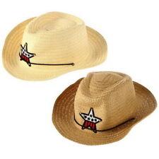 Children Western Cowboy Straw Sun Hat Wind-proof Cap Big Wide Brim Sunbonnet ZC