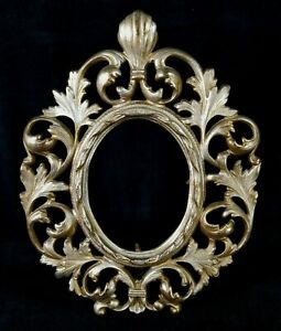 Antique Victorian Gold Paint On Cast Iron Standing Oval Mirror Photo Frame EXC