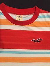Hollister T Shirt Orange and White Striped, Sz. S
