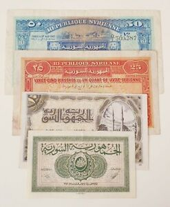Syria banknotes 4 pieces set 5 10 25 50 Piasters Year 42-44 Rare / XF