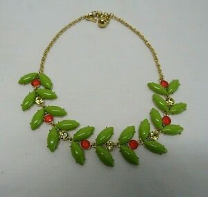 KATE SPADE Enchanted Garden Olive Green Leaves Red Yellow Crystal Necklace