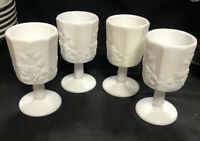 "4 Vintage Westmoreland Paneled Grape White Milk Glass Goblet 6"" Wine Footed"