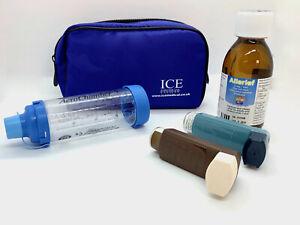 ICE Medical Blue Inhaler Medication Bag - Epipen, Spacer, Travel or Home