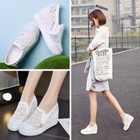 Womens Summer High Hidden Wedge Heel Platform Sneakers Casual Creeper Shoes Pump