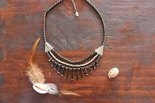 Beautiful Handmade 3 Layer Hematite Black & Silver Spike Beaded Charm Necklace