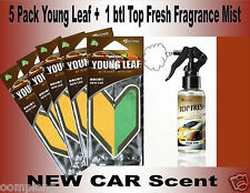 1 Top Fresh Fragrance Mist Spray + 5 Young Leaf Air Freshener NEW CAR Scent