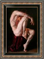 Hand Painted Gay Art Portrait Oil Painting on Canvas NUDE MALE #A082 (No Frame)
