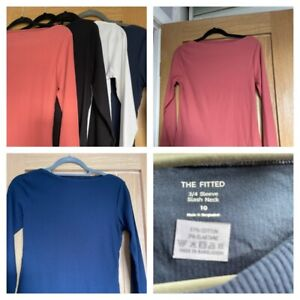 MARKS & SPENCER Ladies fitted slash neck ribbed top 3/4 sleeves various colours