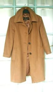 BARBOUR Camel Wool and Cashmere Coat 14 UK fab .rich, deep shade great condition