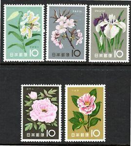 Japan 1961, Flower series, 5 of the 12, Sakura C329-33, SG 847-51, mnh.