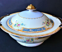 "Vintage 10"" Noritake China ""Kongo"" Hand Painted Round Serving Bowl/Casserole w/L"