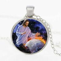 "LORD CHRISTIAN PRAY JESUS WORLD GOD pendant 20"" Sterling Silver 925 necklace"