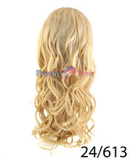 Double volume Curls 3/4 Head Wig Half Fall Hairpiece Golden Blonde 24/613