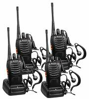 Long Range Walkie Talkie 4 Pack 400-470Mhz 2-Way Radio 16 Channel Li-ion Battery