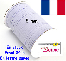6 METRES ELASTIQUE COUTURE BLANC 5 mm  MERCERIE COUTURE POUR MASQUES PANTALON