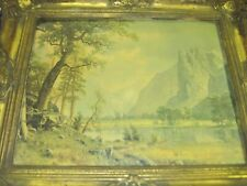 """Antique Metal Frame With A Bierstadt Print 26"""" X 22"""" Outer Frame With 19"""" X"""