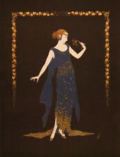 "CLASSIC ERTE ART DECO BOOK PRINT ""FLOWER PETAL GOWN"" WOMAN IN 1920'S BLUE DRESS"