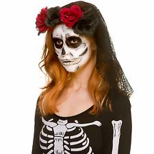 Ladies Day Of The Dead Rose Skull Veil Headband Halloween Fancy Dress Accessory