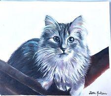 """Zara Hudson ORIGINALE dipinto ad olio su tela Carino Gatto su amaca 11"""" x 9"""""""