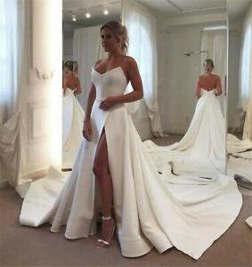 Elegant Wedding Dresses Strapless Satin A-Line High Slit Bridal Gowns Beach Boho