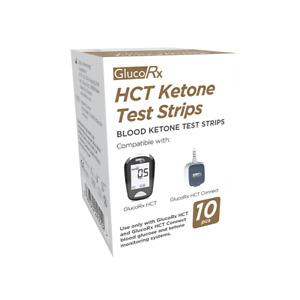 GlucoRx HCT Blood Glucose Ketone Diabetic Testing Test Strips - Box of 10