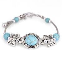 Türkis Perlen Armreif Armband versilbert Manschette Armband verstellbar Jewe.XUI