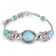 Turquoise Beads Bangle Bracelet Silver Plated Cuff Bracelet Adjustable Jewe Pp