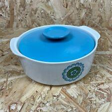 More details for vintage retro j & g meakin topic blue flower vegetable tureen serving dish 1960s
