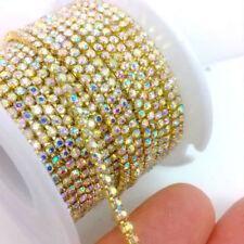 10 Yards ss6 2MM Crystal Glass Clear AB Rhinestone Brass Chain