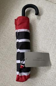 NWT Zara Accessories Black/Red/White Striped Folding Umbrella