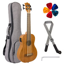Electric Ukulele Bass Ukulele Baritone 30 inch EADG Mahogany w/Bag Strap Picks