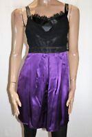 grace & hart Brand Black Purple Silk Party Cocktail Dress Size 10 BNWT #TT81