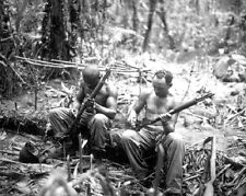 """US Soldiers cleaning Riffles Bougainville 8""""x 10"""" World War II WW2 Photo 584"""