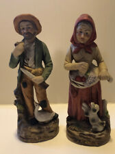 Pair Of Vintage Homco ? Bisque Farmer And His Wife Figurines Euc
