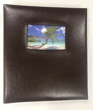 Photo Album, Brown PU Leather W/ Photo Window, Holds 500 Photos Of 4x6, NEW