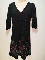 Dorothy Perkins Black Floral 3/4 Length Sleeve Shift Dress - Size 12 (884g)