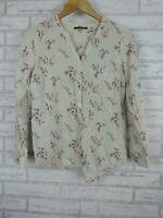 Regatta petites top blouse v neck green Grey pink floral stripe print size 8