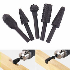 5Pcs/Set Rotary Rasp HSS Grinding Head Power Tool Woodworking Cutter Drill Bits