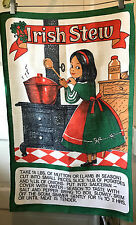 Vintage Kitchen Towel Irish Stew Happy Girl Cooking Stove Recipe Linen 18 x 29