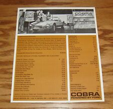 1963 Ford Shelby Cobra Ford Powered Sales Brochure Sheet 63