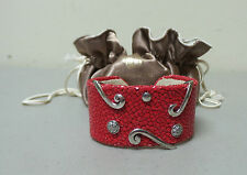 ANGELINE de PARIS CUFF BRACELET, RED SHAGREEN (STINGRAY) .925 & SWAROVSKI CRY.