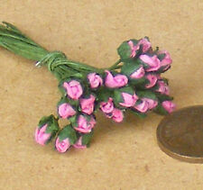 1:12 Scale Bunch Of 25 Dark Pink Paper Rose Buds Flowers Dolls House Miniature