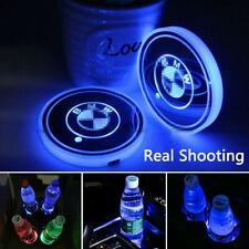 2PCS LED Car Logo Cup Bottle Holder Pad Mat 7 Colors Changing Lights fit for BMW
