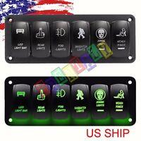 Green Car Marine Boat 6-Gang Waterproof Circuit LED Rocker Switch Panel Breaker