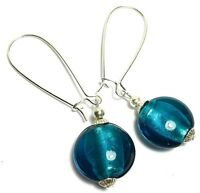 Long Teal Glass Bead Earrings Drop Dangle Silver Extra Long Kidney Hooks UK MADE
