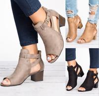 Roman Womens Open Toe Mid Block Heels Ankle Strap Casual Buckle Mule Sandal Shoe
