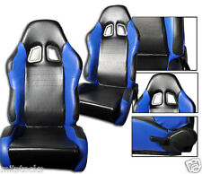 NEW 1 PAIR BLACK & BLUE PVC LEATHER RACING SEATS RECLINABLE ALL CHEVROLET *****