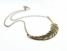 Statement Feather Leaf Necklace - Antique Jewellery Vintage Gold Bronze Jewelry