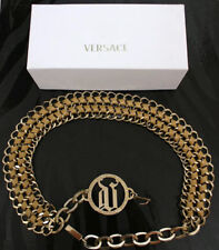 NEW VERSACE GOLD METAL CHAIN & TAN LEATHER BELT