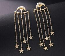 Beautiful Betsey Johnson Long earrings moon and stars Alloy rhinestone earrings